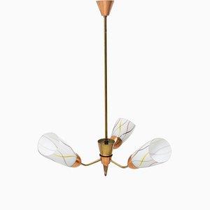 Mid-Century Flower Shaped Hanging Lamp, Czechoslovakia, 1960s