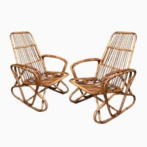 Antique Cane Rocking Armchairs, Set of 2