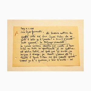 Silvano Bozzolini, Letter, 1958