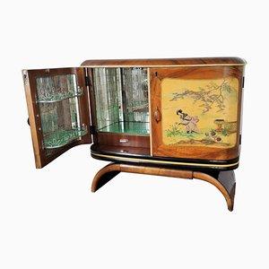 Mid-Century Italian Walnut Burl and Mirror Mosaic Dry Bar Cabinet, 1950s
