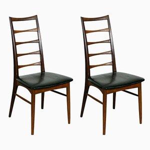 Scandinavian Teak Liz Chairs by N. Koefoeds for Hornslet, Denmark, Set of 2