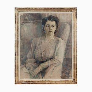 Broche retrato de una mujer con un pájaro carpintero Johannes Snellman