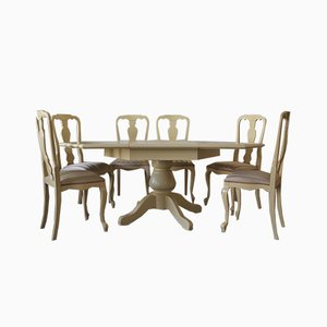 Sechseckiger Ausziehbarer Esstisch & Stühle von Willy Rizzo für Mario Sabot, 1970er, 8er Set