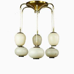 Deckenlampe aus Glas & Messing mit 6 Leuchten von Doria Leuchten, 1950er