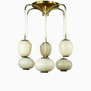 Glass & Brass 6-Light Ceiling Lamp from Doria Leuchten, 1950s