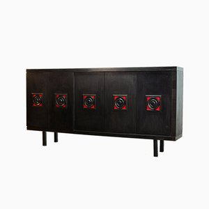 Large De Coene Style Belgian Brutalist Black Sideboard with Red Accents, 1960s