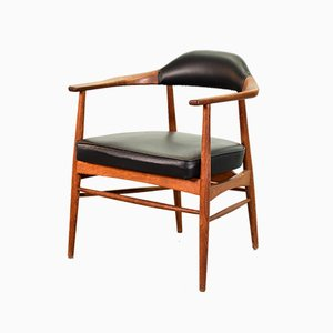 Scandinavian Hans Wegner Style Solid Teak & Black Leatherette Chair, 1960s