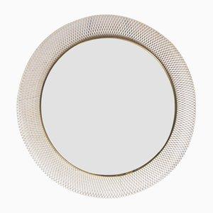 Mid-Century White & Brass Metal Mirror from Vereinigte Münchner Werkstätten, 1950s
