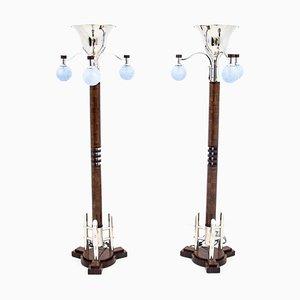 Polnische Art Deco Stehlampen, 1970er, 2er Set