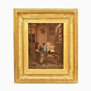 Antique Children Playing Portrait, 19th Century, Oil Painting