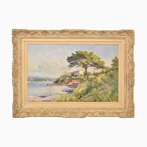 Paisaje antiguo, costa mediterránea, siglo XIX, óleo sobre lienzo