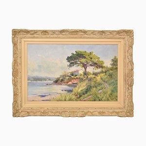 Paysage Antique, Côte de la Méditerranée, 19ème Siècle, Huile sur Toile