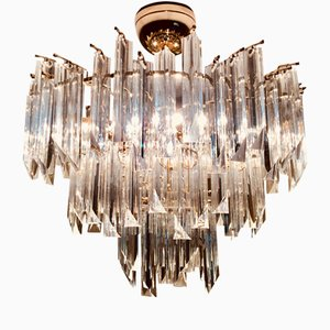 Glass Chandelier with Triedi Crystals by Paolo Venini for Venini, 1980s