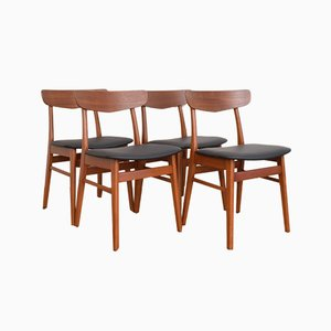 Danish Teak & Leather Dining Chairs from Farstrup Møbler, 1960s, Set of 4