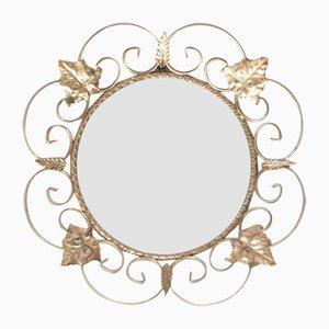 Mid-Century French Gilded Metal Mirror with Vine Leaves