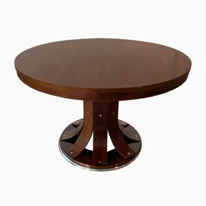 Italian Round Extendable Dining Table, 1970s