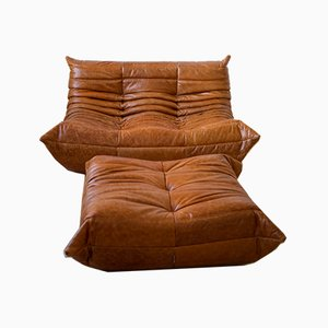 Pine & Leather Togo Lounge Chair & Pouf by Michel Ducaroy for Ligne Roset, 1970s, Set of 2