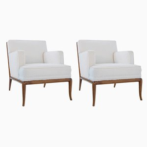 Mid-Century White Bouclé Lounge Chairs by T. H. Robsjohn-Gibbings, 1950s, Set of 2