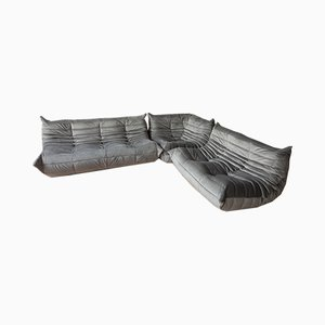 Velvet Togo Chairs & 2-Seater Sofa by Michel Ducaroy for Ligne Roset, 1979, Set of 3