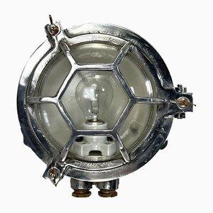 Applique da paratia vintage industriale in alluminio pressofuso e vetro, Giappone