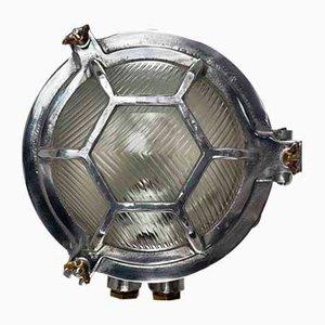 Aplique japonés industrial vintage de aluminio fundido y vidrio escarbado