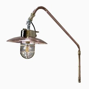 Explosion-Proof Copper & Brass Cantilever Pendant Lamp with Cage & Shade, 1970s