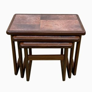 Teak Nesting Tables with Tile Tops, 1970s, Set of 3