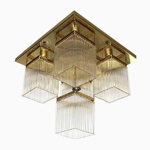 Brass Chandelier with Glass Rods, 1980s