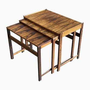Tavolini a incastro in palissandro, Scandinavia, anni '60, set di 3