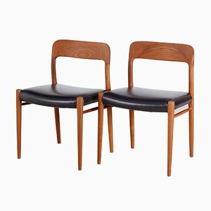 Model 75 Dining Chairs by Niels Otto Møller for J.L. Møllers, 1960s, Set of 2