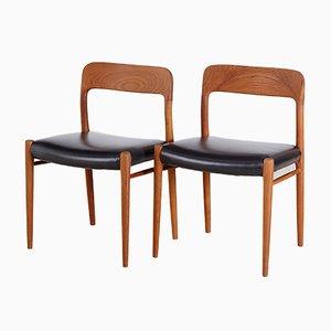 Modell 75 Esszimmerstühle von Niels Otto Møller für JL Møllers, 1960er, 2er Set