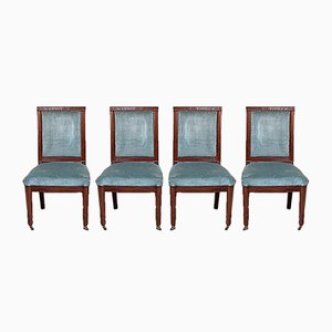 Directoire Solid Mahogany Dining Chairs, Set of 4