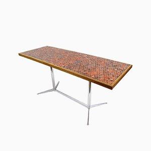 Dutch Ceramic & Wood Side Table, 1970s