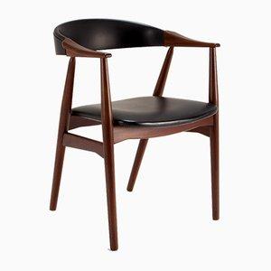 Chaise de Bureau Modèle 213 en Skaï & Afromosia par Thomas Harlev pour Farstrup Møbler, Danemark, 1960s