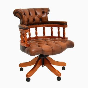 Victorian Style Leather Captains Swivel Desk Chair, 1990s