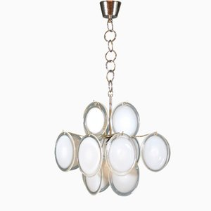 Mid-Century Murano Glass Disk Chandelier from Vistosi, 1960s