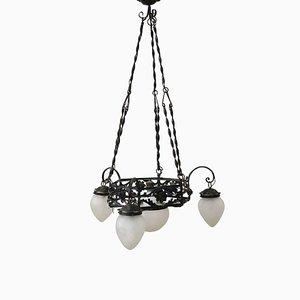 Art Nouveau Wrought Iron Ceiling Lamp, 1910s