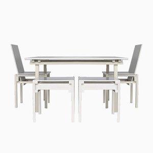 Esstisch & Stühle im Stil von Gerrit Rietveld, 1980er, 5er Set