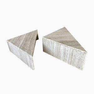 Vintage Italian Triangular Travertine Side Tables, Set of 2