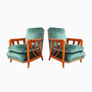Cherrywood & Forest Green Velvet Lounge Chairs by Paolo Buffa, 1950s, Set of 2