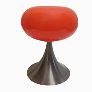 Table Lamp with Brushed Steel Funnel Base & Orange Pressed Glass Dome from Prisma-Leuchten, 1990s