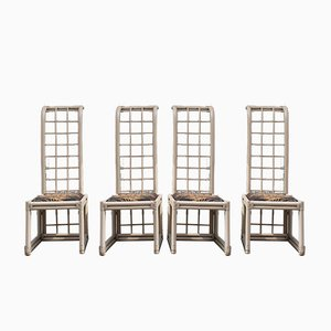 White Bamboo High Back Chairs from Vivai del Sud, 1970s, Set of 4