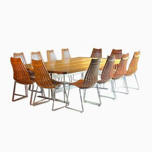 Vintage Brazilian Rosewood Conference Dining Table & Chairs Set by Hans Brattrud for Scandia, 1970s, Set of 13