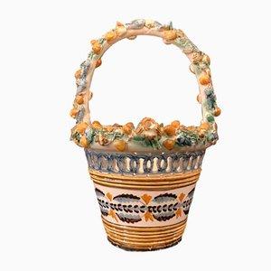 Cesto in ceramica decorata e traforata, anni '50
