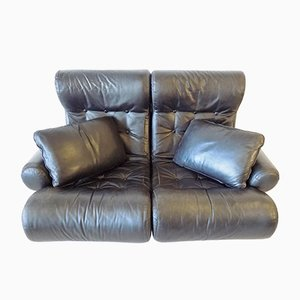 Leder Sofalette / Modulares 2-Sitzer Sofa von Otto Zapf, 1970er