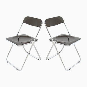 Vintage Plia Side Chairs by Giancarlo Piretti for Castelli / Anonima Castelli, 1970s, Set of 2