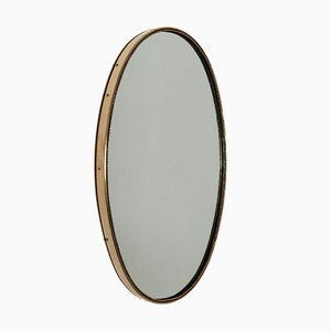 Vintage Italian Brass Wall Mirror with Decorations, 1960s