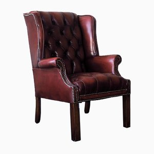 Tufted Leather Chesterfield Wing Lounge Chair, 1970s