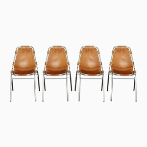 Mid-Century Leather Les Arcs Dining Chair by Charlotte Perriand