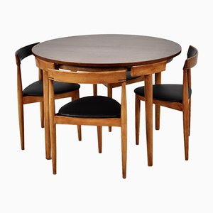 Mid-Century Teak Dining Table & Chairs Set by Hans Olsen for Frem Røjle, Set of 5